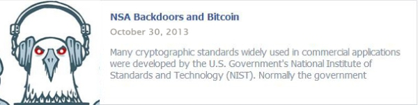 NSA Backdoors and Bitcoin