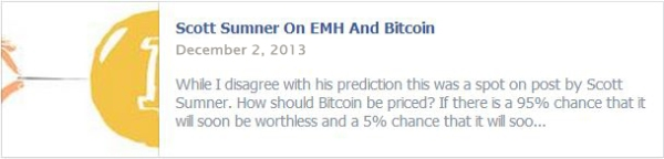 Scott Sumner On EMH And Bitcoin