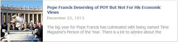 Pope Francis Deserving of POY But Not For His Economic Views