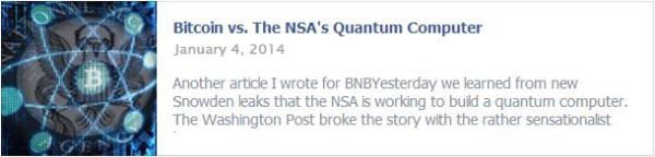 Bitcoin vs. The NSA's Quantum Computer