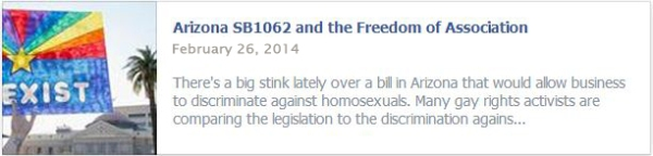 Arizona SB1062 and the Freedom of Association